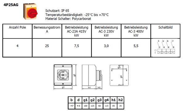 Hauptschalter Kunststoff Gehäuse 4-polig 25 A IP65 Inkl.2 x M20 Verschraubung